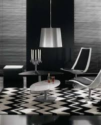 black and white living room with accent color decorative wallpaper
