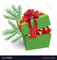 gift box with christmas decorations royalty free vector