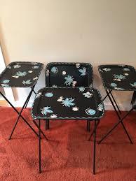 Folding Tray Table Set Vintage Mid Century Modern Tv Tray Tables Set Of 4 Self
