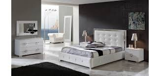 Modern King Bed Set Bedroom Design Ideas - White leather contemporary bedroom furniture