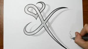 Cool Designs Drawing Letter X Combined With A Heart Design Youtube