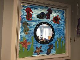 under the sea theme classroom door and window decorations