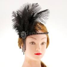feather headband vintage black charleston feather headband 20s flapper
