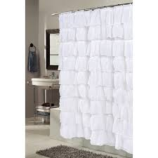 White Ruffled Curtains by Bathroom Ruffle Shower Curtain With White Curtain And Brown Tile