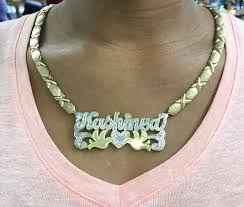 real gold name necklace real gold nameplate necklace necklace