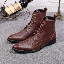 christia bella brand formal men dress boots genuine leather winter