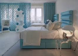 bedroom cozy twin bed in blue bedroom ideas with pretty curtains