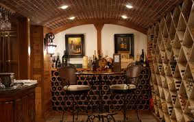 interior wooden racks of home wine cellar designs with three