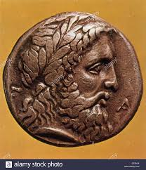 greek god zeus depicted on an ancient greek coin from elis zeus