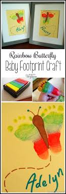 rainbow butterfly footprint artwork crafting with twinfants