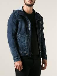 jean sweater jacket lyst diesel hooded denim jacket in blue for