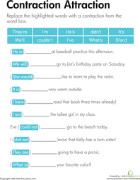 contraction attraction worksheet education com