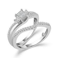 princess cut 3 engagement rings 10k white gold princess cut 3 plus engagement set with