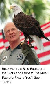 Patriotic Eagle Meme - q buzz aldrin a bald eagle and the stars and stripes the most