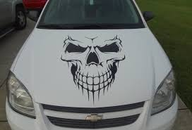 car skull hood decal garage home decor wall hanging graphic zoom