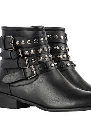 buckle biker boots akira four buckle low heel studded ankle booties in black
