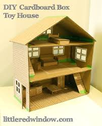 Simple Plans For Toy Box by Diy Cardboard Box Toy House Little Red Window