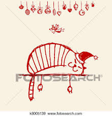 clip art of christmas card funny santa cat for your design
