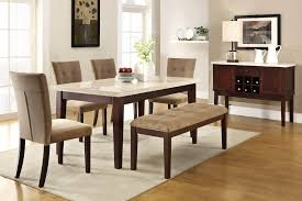 furniture brown wooden dining set with benches having grey seat