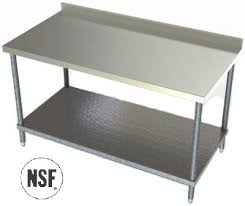 Benches Work Tables Stainless Steel Benches Stainless Steel - Stainless steel table with backsplash