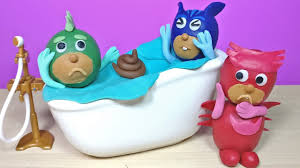 pj masks play doh toilet bathtime prank gekko catboy