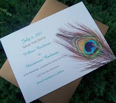 peacock save the date card feather save the date