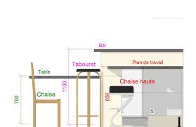 dimension table cuisine hauteur bar de cuisine