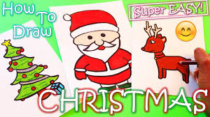 how to draw christmas stuff reindeer santa claus christmas tree