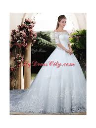 Chapel Train Wedding Dresses Ball Gown Off The Shoulder Lace Chapel Train Wedding Dresses With