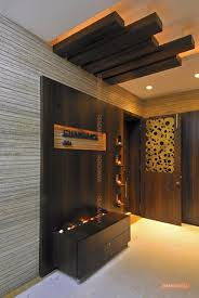grey lobby with wood wall design photos