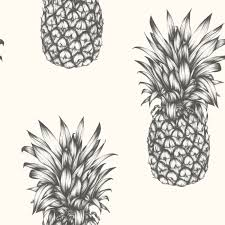 arthouse tropics copacabana pineapple wallpaper gold black white