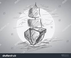 handdrawing vector sketch sailboat stock vector 268932008
