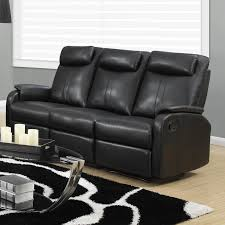 monarch reclining sofa black bonded leather walmart com