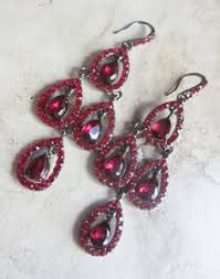 Red Chandelier Earrings Gold Plated Red Rhinestone Chandelier Earrings Red Rhinestone
