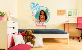 Bedroom Wall Graphic Design Princess Moana Custom Name Kids Wall Decal For Home Bedroom