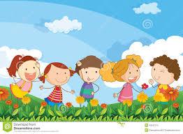 giardino bambini cinque bambini adorabili giocano al giardino illustrazione