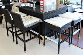 Rattan Table L Pc Black Rattan L Shape Bar Set