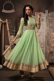 shop georgette and net party wear anarkali suit in green colour