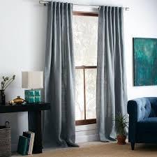 Blue Burlap Curtains Curtain Blue West Elm