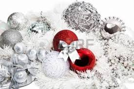 and silver decorations on white background stock
