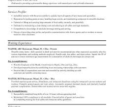 waiter resume samples food service waitress waiter resume samples