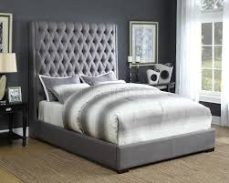 camille 300621 upholstered bed in grey fabric by coaster