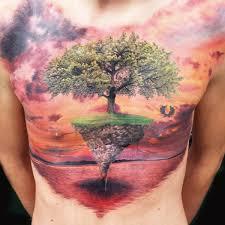 amazing tree 3d illusion chest on tattoochief com