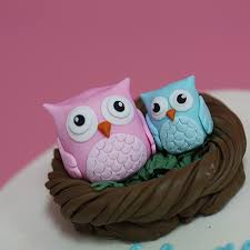 owl cake toppers baby shower cake with fondant owls in a nest cake topper sweet