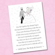 wedding gift money poem 25 x wedding poem cards for your invitations ask politely for
