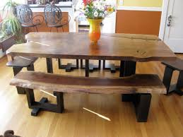 Rustic Dining Room Bench Put A Bench For Rustic Look In Dining Room Being Unusual With