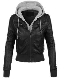 leather cycle jacket womens casual motorcycle fleece hoodie faux leather jacket faux