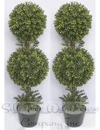 two 36 inch outdoor artificial boxwood topiary trees