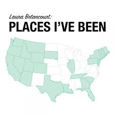 Visited States Map Colombian Au Pair Laura Has Visited 20 States In The Usa And