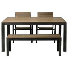 ikea black brown dining table falster table chairs and bench outdoor blackbrown of including